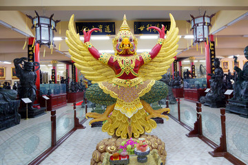 Pattaya, Thailand, the Interior of the Chinese temple of Viharn Sien. On the ground floor you can see sculptures, frescoes, artifacts of Chinese culture.
