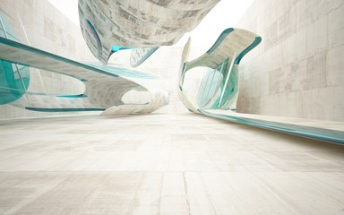 Empty dark abstract concrete smooth interior with blue glass . Architectural background. 3D illustration and rendering