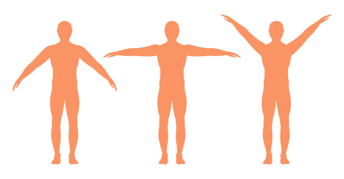 Male silhouette with arms spread out in different directions, vector.