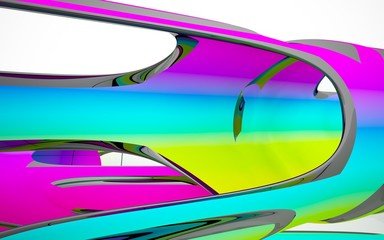 abstract architectural interior with colored smooth sculpture with black lines. 3D illustration and rendering