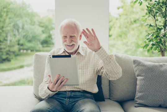 Portrait of nice cheerful positive old man sitting on divan hold