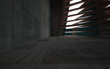 Empty abstract room interior of sheets rusted metal and gray concrete with blue glass. Architectural background. Night view of the illuminated. 3D illustration and rendering