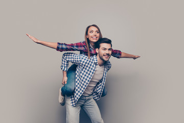 Fototapeta Portrait of his he her she two nice attractive cheerful people m obraz