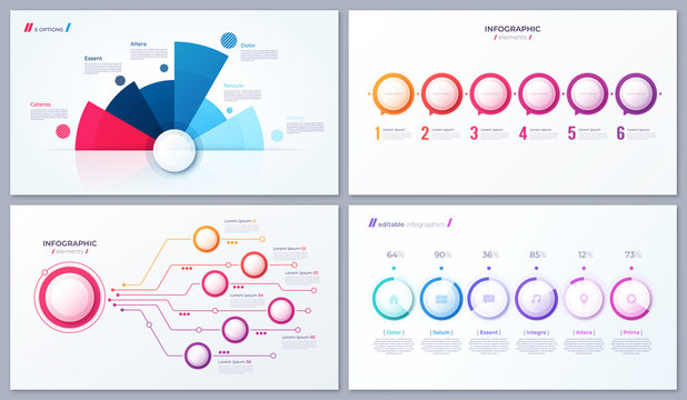 Set of vector 6 options infographic designs, templates for web,
