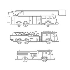 Fire engine. Fire truck. Vector icon set in linear style