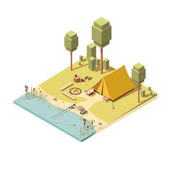 Camping with tent, bonfire and fishing rod. Isometric vector illustration.