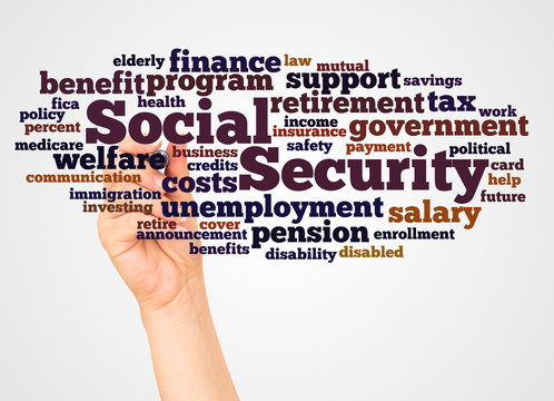 Social Security word cloud and hand with marker concept