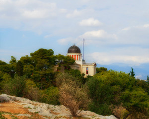 Athens Greece, the national observatory classical building dome