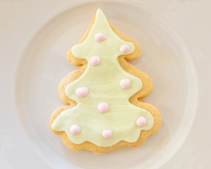 homemade Christmas cookie tree in white plate