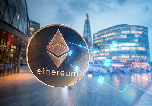 ethereum against skyscrapers - futuristic smart city - cryptocurrency concept