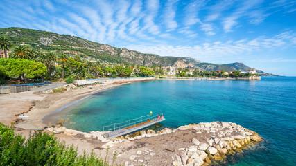 Wall Mural - Landscape with amazing beach Baie des Fourmis, Beaulieu sur Mer,  Cote d'Azur, France
