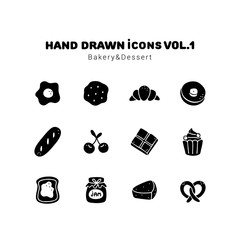 Bakery and Dessert glyph style icons