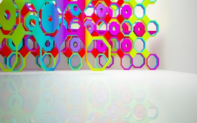 Papiers peints Art abstrait Abstract dynamic interior with gradient colored objects. 3D illustration and rendering