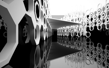 abstract architectural interior with white sculpture, glossy black wall and floor. 3D illustration and rendering