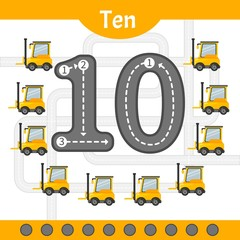 Kids learning material. Card for learning numbers. Number 10. Cartoon transport.
