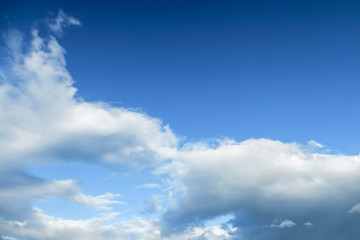 Clouds in the Blue Sky on Sunny Day, Nature Scenery with a Good Weather. Looking Up Shot