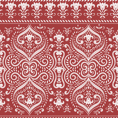 Beautiful red and white floral seamless pattern. Vintage vector, paisley elements. Traditional,Turkish, Indian motifs. Great for fabric and textile, wallpaper, packaging or any desired idea.