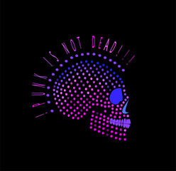 Punk is not dead skull icon logo background halftone purple color.