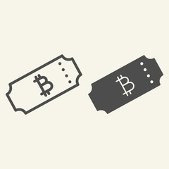 Ticket bitcoin line and glyph icon. Crypto ticket vector illustration isolated on white. Cryptocurrency outline style design, designed for web and app. Eps 10.