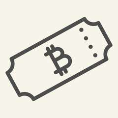 Ticket bitcoin line icon. Crypto ticket vector illustration isolated on white. Cryptocurrency outline style design, designed for web and app. Eps 10.