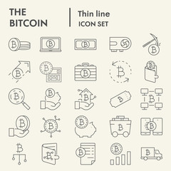 Bitcoin thin line icon set, cryptocurrency symbols collection, vector sketches, logo illustrations, digital money signs linear pictograms package isolated on white background, eps 10.