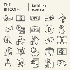 Bitcoin line icon set, cryptocurrency symbols collection, vector sketches, logo illustrations, digital money signs linear pictograms package isolated on white background, eps 10.