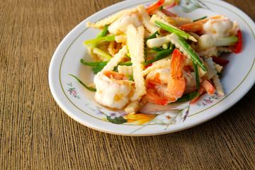 Stir fried coconut with shrimp.