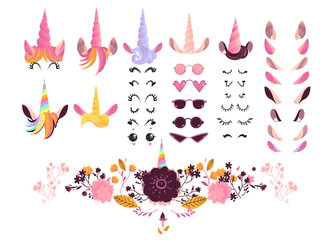 Unicorn face creation kit vector illustration - isolated cute cartoon elements of eyes and eyelashes, eyeglasses and ears, horns with hair and flowers for creation of funny magic fairy animal.