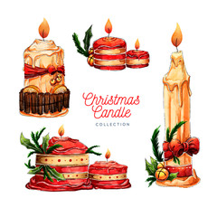 Beautiful hand drawn christmas candle collection