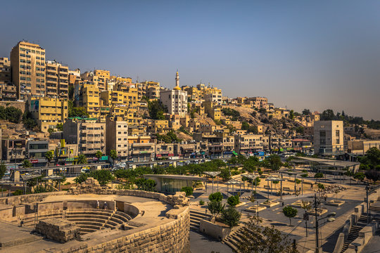 Amman - September 29, 2018: View from the Roman Amphitheater in the center of Amman, Jordan