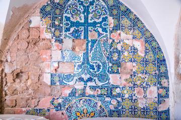 Armenian tiles with beautiful decorations in Jerusalem
