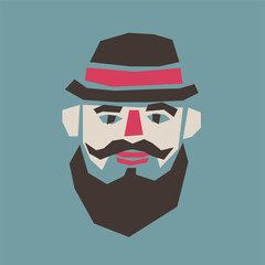 Man with a hat and a mustache. Cartoon character in applique style. Retro vector illustration.