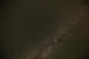 Wadi Rum - October 01, 2018: Night sky over the Wadi Rum desert, Jordan