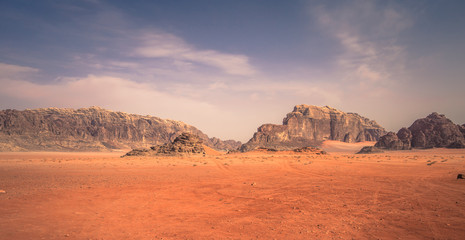Wadi Rum - October 02, 2018: Panoramic view of the landscape of the Wadi Rum desert, Jordan