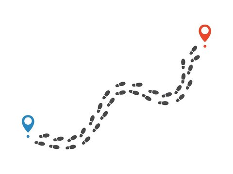 Route of human shoe track monochrome silhouette vector illustration. Tracking from black shape of sole print with destination pins isolated on white background - pathway of human boot trace.
