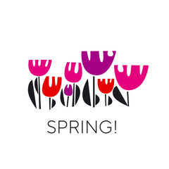 Spring tulips color vector illustration