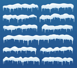 Snow caps, ice icicles. Elements winter decor, frozen ice texture, snowy frame decoration on blue background.