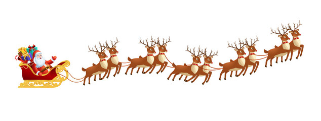 Santa claus in sleigh with reindeers on on white background. Merry christmas and Happy new year decoration.