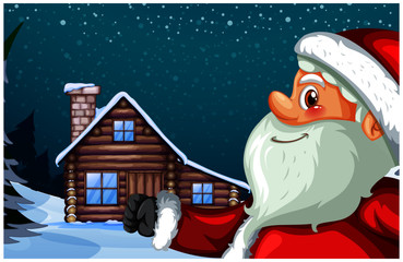 Beautiful Merry christmas greeting card with Santa Claus background