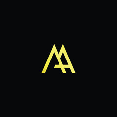 Initial letter AA MA AM minimalist art logo, gold color on black background.