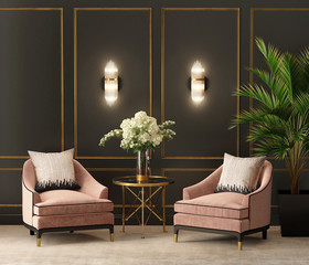 Art deco black and salmon eclectic luxury living room