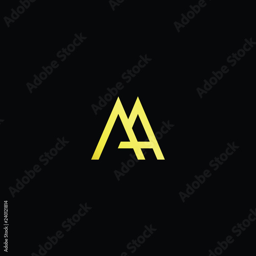 Initial Letter Aa Ma Am Minimalist Art Logo Gold Color On