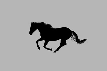 Abstract Gray Background Black Horse Illustration