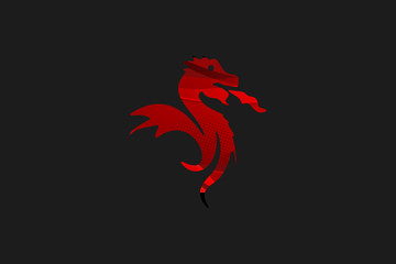 Abstract Black Red Dragon Illustration