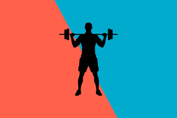 Abstract Colorful Background Fitness Man Illustration