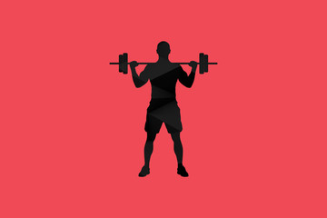 Abstract Polygon Red Black Fitness Man Illustration