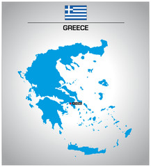simple vector outline map of greece with flag