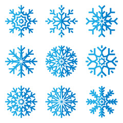 Snowflakes icon set in flat style on white background. Ice crystal. Vector winter design element for you Christmas and New Year's projects