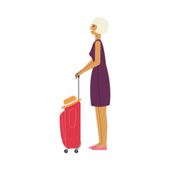 Young middle-age woman in dress with red travel suitcase, plastic bag smiling waiting for a flight. Happy female character, traveller, tourist going to vacation. Vector illustration