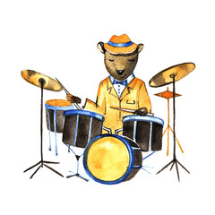 Watercolor illustration sketch - bear playing on drums.